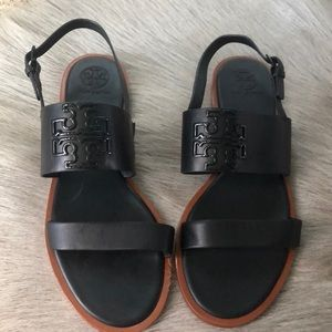 New Tory Burch Black Melinda Flat Sandals 8
